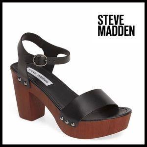 STEVE MADDEN PLATFORM LEATHER STRAP SANDALS A2C